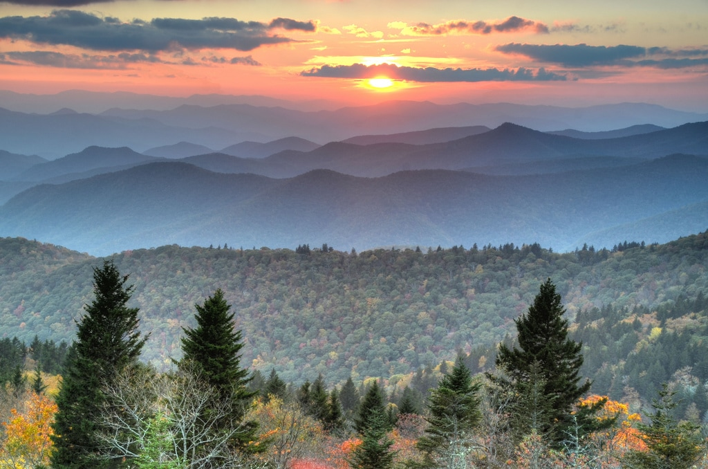 Asheville area, blue ridge parkway, sunset
