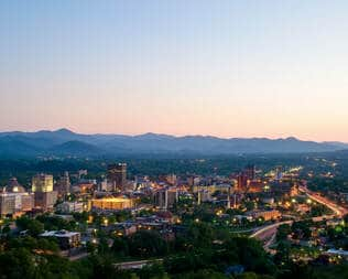 asheville downtown at dusk