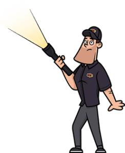 Builder Buddy cartoon home inspector looking for defects