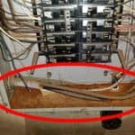 water penetration and corrosion at main electrical panel
