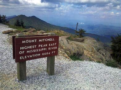picture of Mount Mitchell sign